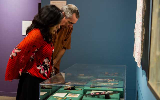 Visitors in exhibit galleries