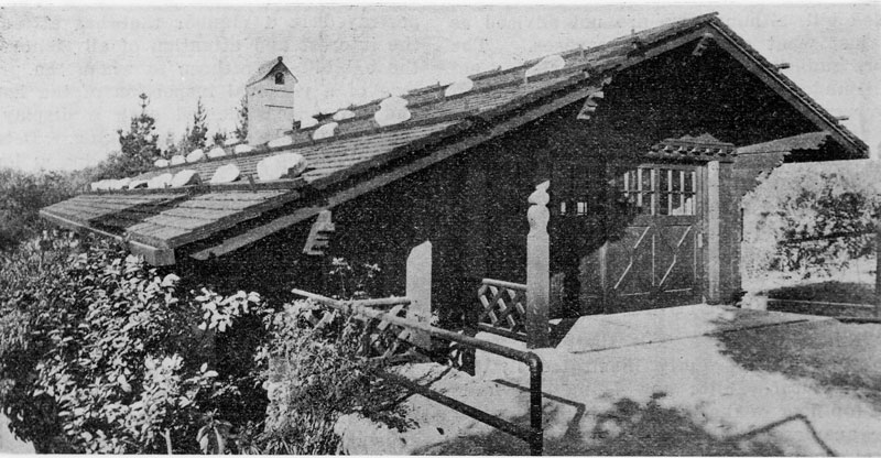 A close-up of the Fleming garage after it was moved to the Fenyes Estate