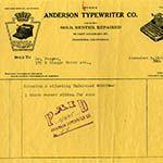 Anderson Typewriter Company receipt