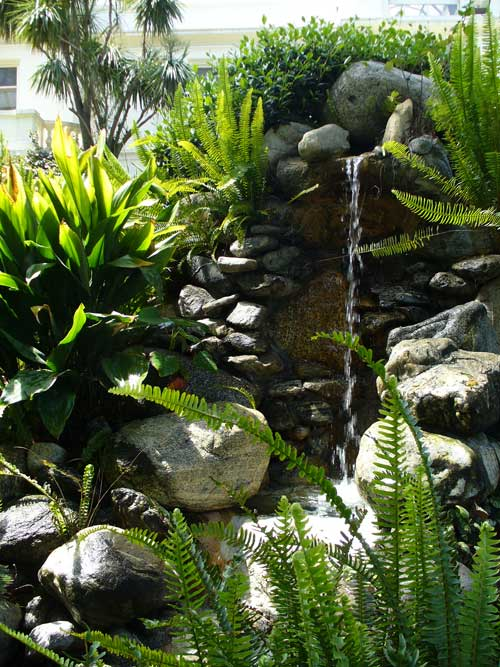 waterfall in the Fenyes Estate Garden