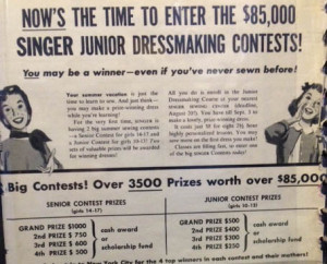 advertisement for the Singer Dressmaking Contest, 1955