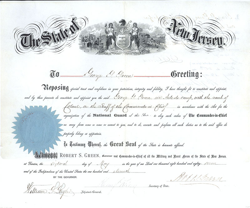 Colonel Green military certificate