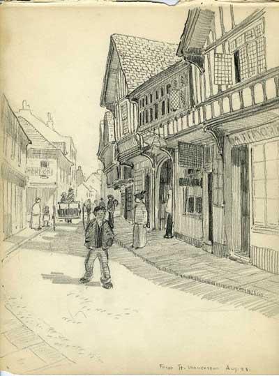 sketch of Europe by tilemaker Ernest Batchelder