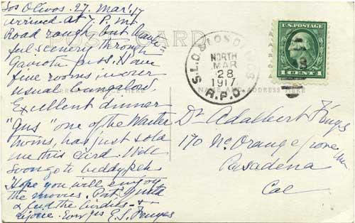 Eva's Los Olivos postcard back