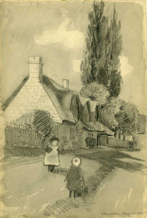 E.A. Batchelder, sketch of a thatched cottages in Campden, August 16, 1905. Image courtesy of Archives, Pasadena Museum of History (BFP.1.16)