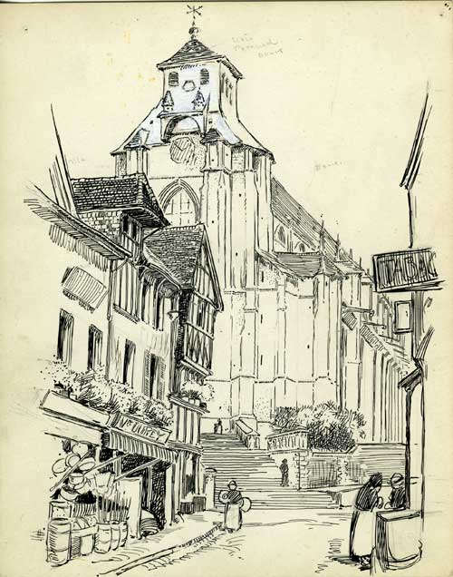 E.A. Batchelder, sketch of unidentified European city street. Image courtesy of Archives, Pasadena Museum of History (BFP.2.92)