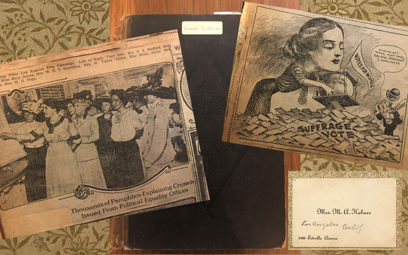 """""""Early Days of Suffrage in California,"""" Scrapbook by Mary A. Holmes (Scrapbook Collection, 112)"""