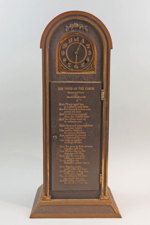 Bronze clock, pre-1933. Made by Charles C. Reynolds, Pasadena, CA. (2019.004.02).